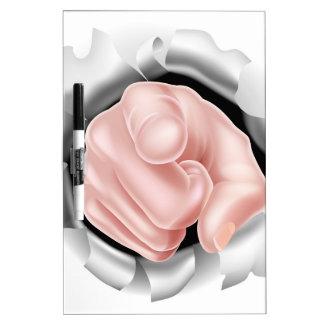 Señalar el fondo sensacional de la mano tablero blanco