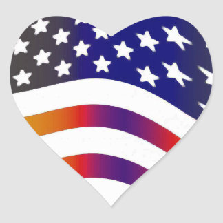 señale las rayas americanas de las tropas por pegatina en forma de corazón