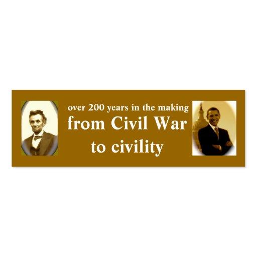 Señales de la historia de Lincoln y de Obama Tarjetas De Visita Mini