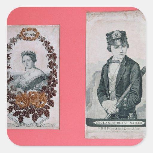 Señales de la reina Victoria y del Príncipe Albert Calcomania Cuadradas Personalizadas