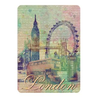 """Señales de moda hermosas de Londres del vintage Invitación 5"""" X 7"""""""