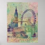 Señales de moda hermosas de Londres del vintage Poster