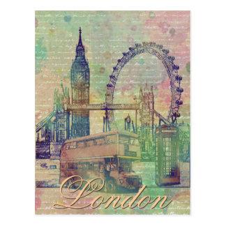 Señales de moda hermosas de Londres del vintage Postal