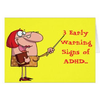 Señales de peligro de la Tarjeta-Temprano de ADHD  Tarjeta Pequeña