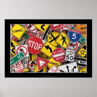 Señales de tráfico americanas póster