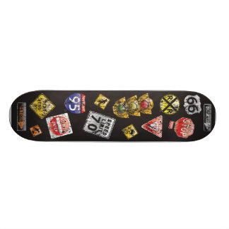 Señales de tráfico apenadas tabla de skate