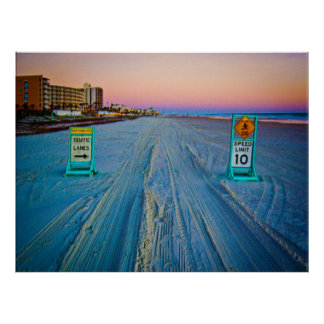 Señales de tráfico de la playa en Daytona Beach en Impresiones