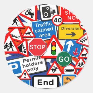 Señales de tráfico pegatina redonda