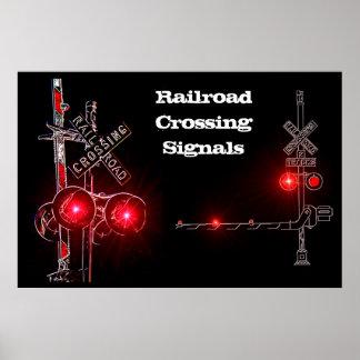 Señales de travesía de ferrocarril de neón póster