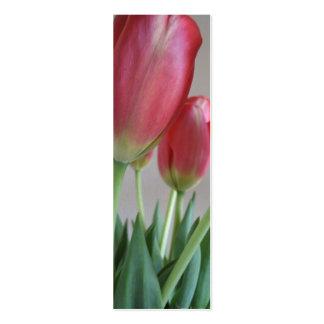 Señales rosadas de los tulipanes tarjetas de visita mini