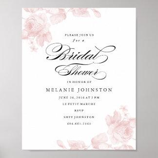 Señalización floral del boda del vintage póster