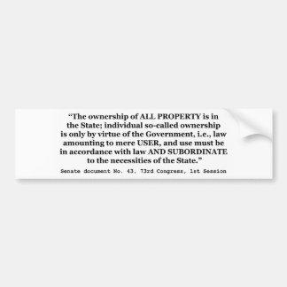 Senate Document No. 43 73rd Congress 1st Session Bumper Sticker