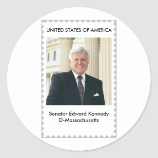 Senator Edward Kennedy Almost a stamp Round Stickers