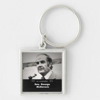 Senator George McGovern 1922-2012 Silver-Colored Square Keychain