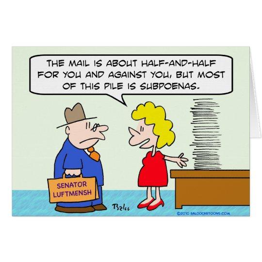 senator mail subpoenas card