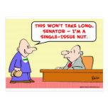 senator single-issue nut post card
