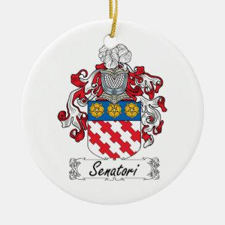 Senatori Family Crest Double-Sided Ceramic Round Christmas Ornament