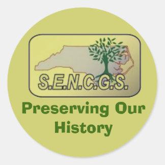 sencgs Sticker, Preserving Our History Classic Round Sticker