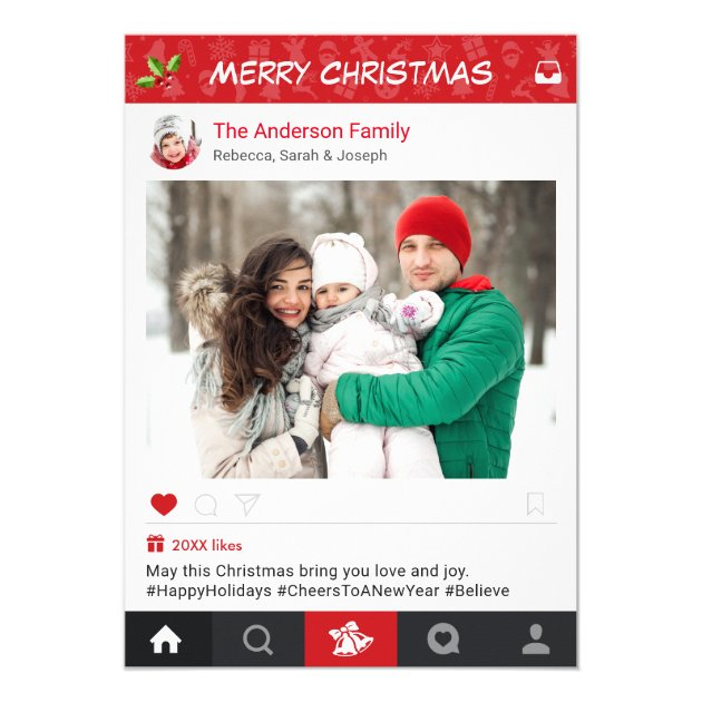Send Christmas Wishes with Instagram Frame Photo Card (back side)