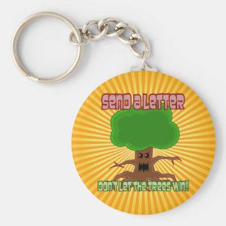 Send Letter Trees Win Design Basic Round Button Keychain