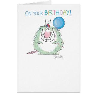 SEND THE FURRY BEAST Birthday Greeting Card