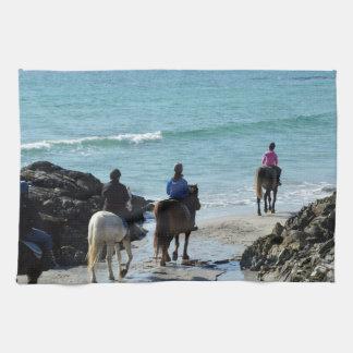 Senderismo del potro a lo largo de la playa toallas