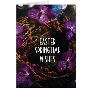 SENDING A VIOLET EASTER WREATH TO YOU CARD