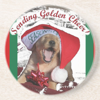 SENDING GOLDEN PUPPY CHEER CHRISTMAS COASTERS