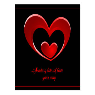 Sending Lots of Love Your Way Postcard/Red Hearts Postcard