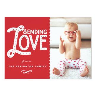 Sending Love Cute Typography Valentine's Day Flat 5x7 Paper Invitation Card