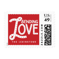 Sending Love Cute Typography Valentine's Day Stamp