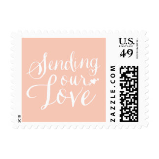Sending Our Love Pink Valentine's Day Postage