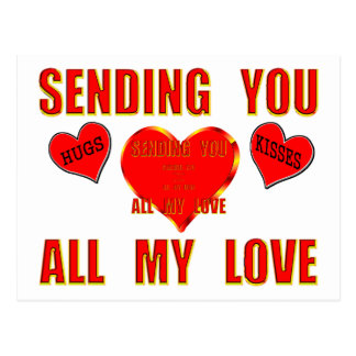 Sending You All My Love with Hugs and Kisses 3D Postcard