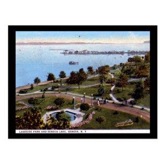 Seneca Lake & Park, Geneva NY 1928 Vintage Postcard