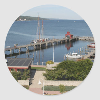 Seneca Lake Pier Round Stickers