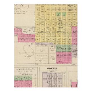 Seneca, Oneida, Goffs, y Baileyville, Kansas Tarjeta Postal