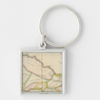 Senegal Africa Silver-Colored Square Keychain