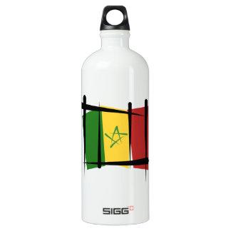 Senegal Brush Flag Aluminum Water Bottle
