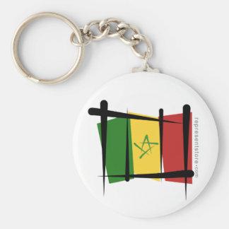 Senegal Brush Flag Basic Round Button Keychain