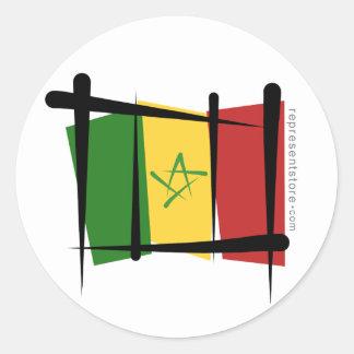 Senegal Brush Flag Classic Round Sticker