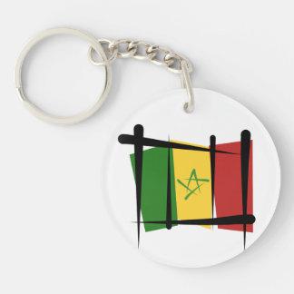 Senegal Brush Flag Double-Sided Round Acrylic Keychain