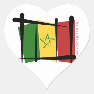 Senegal Brush Flag Heart Sticker