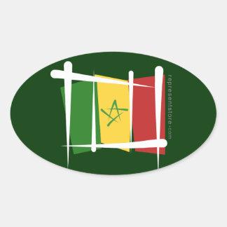 Senegal Brush Flag Oval Sticker