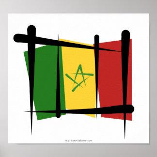 Senegal Brush Flag Poster