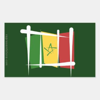 Senegal Brush Flag Rectangular Sticker