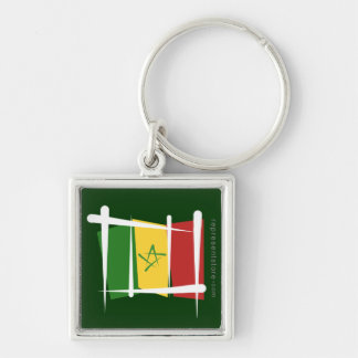 Senegal Brush Flag Silver-Colored Square Keychain