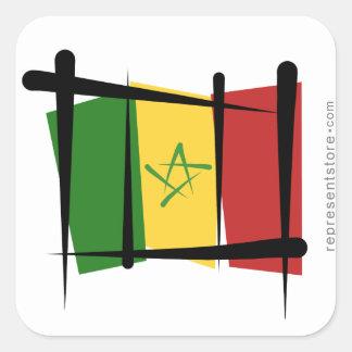 Senegal Brush Flag Square Sticker