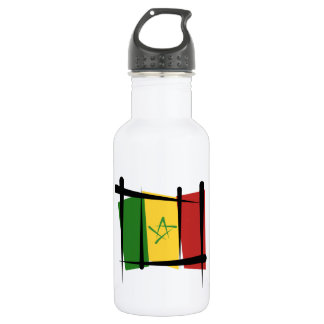 Senegal Brush Flag Stainless Steel Water Bottle