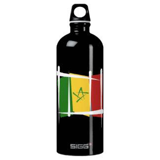 Senegal Brush Flag Water Bottle