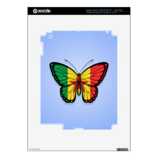 Senegal Butterfly Flag on Blue iPad 3 Decal